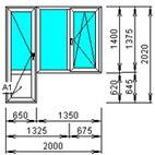 Балконный блок стандартный распашной