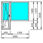 Балконный блок стандартный откидной