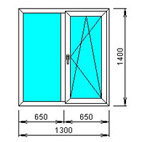 Окно 2-х створчатое откидное