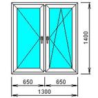 Окно 2-х створчатое распашное