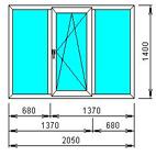 Окно 3-х створчатое откидное