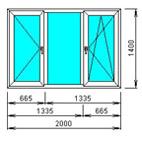 Окно 3-х створчатое распашное